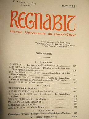 REGNABIT. Revue universelle du Sacré-Coeur, paraissant le: Sacré-Coeur / Centre