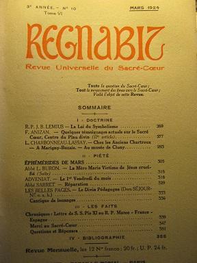 REGNABIT. Revue universelle du Sacré-Coeur paraissant le: Symboles / Symbolisme