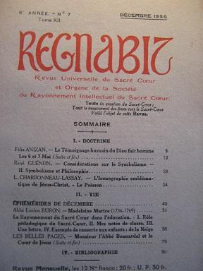 REGNABIT. Revue universelle du Sacré-Coeur paraissant le: Incarnation / ANIZAN
