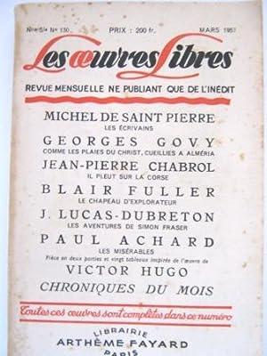 Les Oeuvres Libres. Revue mensuelle ne publiant: SAINT-PIERRE (Michel de)