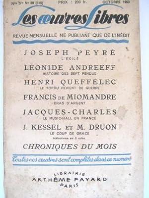 Les Oeuvres Libres. Revue mensuelle ne publiant: PEYRE (Joseph) /