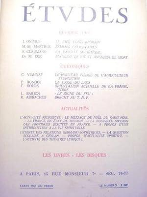 Etudes. (Tome 308, n°2, février 1961). Revue: ONIMUS (Jean) /
