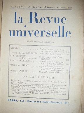 La Revue Universelle. (TomeXXIII, n° 17).: Stendhal / Rambaud