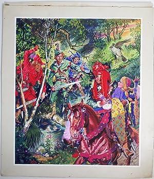 Robin Hood - An original gouache illustration of Robin Hood, & his Merry Men, Maid Marion and ...