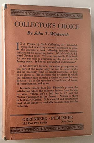 Collector's Choice; by the author of A Primer of Book Collecting