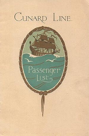 List of Tourist Third Cabin Passengers--R. M.