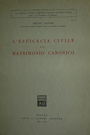 L'efficacia civile del matrimonio canonico.: BACCARI, Renato.