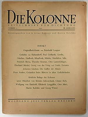 Die Kolonne. Zeitschrift für Dichtung. Nummer 3: Kuhnert, A. Artur