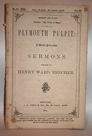 """PLYMOUTH PULPIT No. 21 Vol. IV """"My: Henry Ward Beecher"""