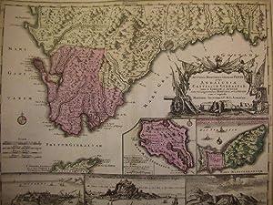 Mapa Antiguo De España. Andalisiae Castellum Gibraltar Inter in Europam et Africam. Portubus...