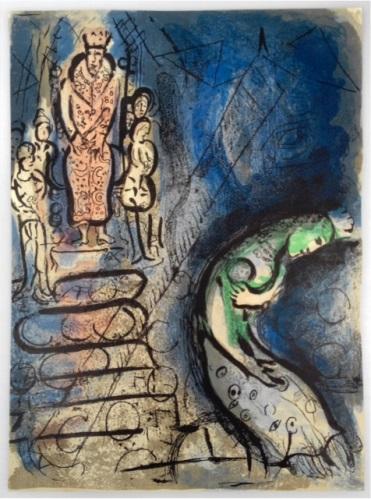 Ahasverus vertreibt Vasthi, farbige Original-Lithographie aus dem: Chagall, Marc,