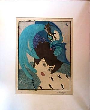 Dame mit Paradiesvogel-Hut farbiger Original-Linolschnitt auf Bütten,: Kropp, Ernst,
