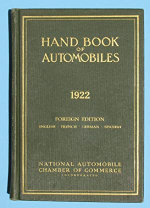 Hand Book [Handbook] of Automobiles, 1922: National Automobile Chamber of Commerce