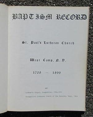 Baptism Record, St. Paul's Lutheran Church, West Camp, N.Y. 1708-1899: Kelly, Arthur C. M.