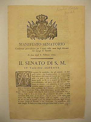 Manifesto senatorio continente provvidenze per l'abuso delle armi degli abitanti del luogo di ...
