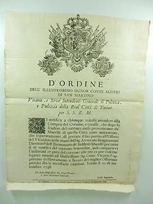 D'ordine dell'illustrissimo signor conte Alfieri di San: Anonimo