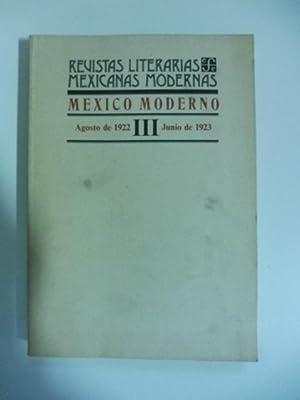 Revistas literarias mexicanas modernas. Mexico moderno. Agosto: AA.VV.
