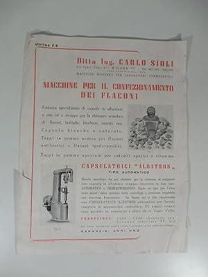Ditta Ing. Carlo Sioli. Macchine per il: Anonimo