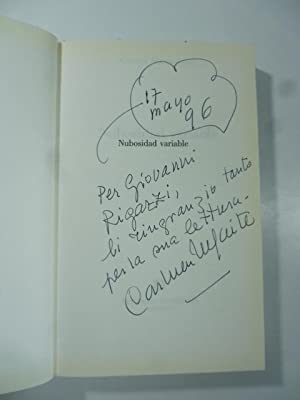Nubosidad variable. Con dedica dell'Autrice (signed copy)