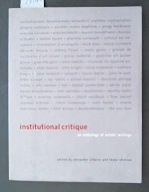 institutional critique an anthology of artists' writings