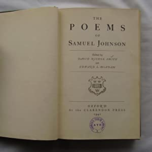 The Poems of Samuel Johnson: David Nichol Smith and Edward L. McAdam
