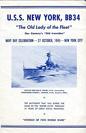 USS New York, BB34 'The Old Lady of the Fleet' Navy Day Celebration Program, 27 October, ...
