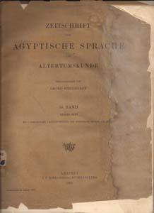Zeitschrift fur Agyptische Sprache und Altertumskunde 58. Band Erstes Heft: Steindorff, Georg (...
