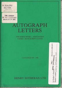 Autograph Letters: Inscribed Books, Association Copies, Manuscript Leaves. Catalogue 999. 1986