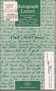 Autograph Letters: Rare and Important Autographs, Literature - History & Politiecs - Music - Art ...