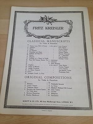 Fritz Kreisler ? Classical Manuscripts for Violin: Kreisler, Fritz