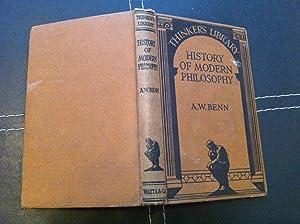 HISTORY OF MODERN PHILOSOPHY KINGSHIP THE OUTCAST: Benn, A. W.