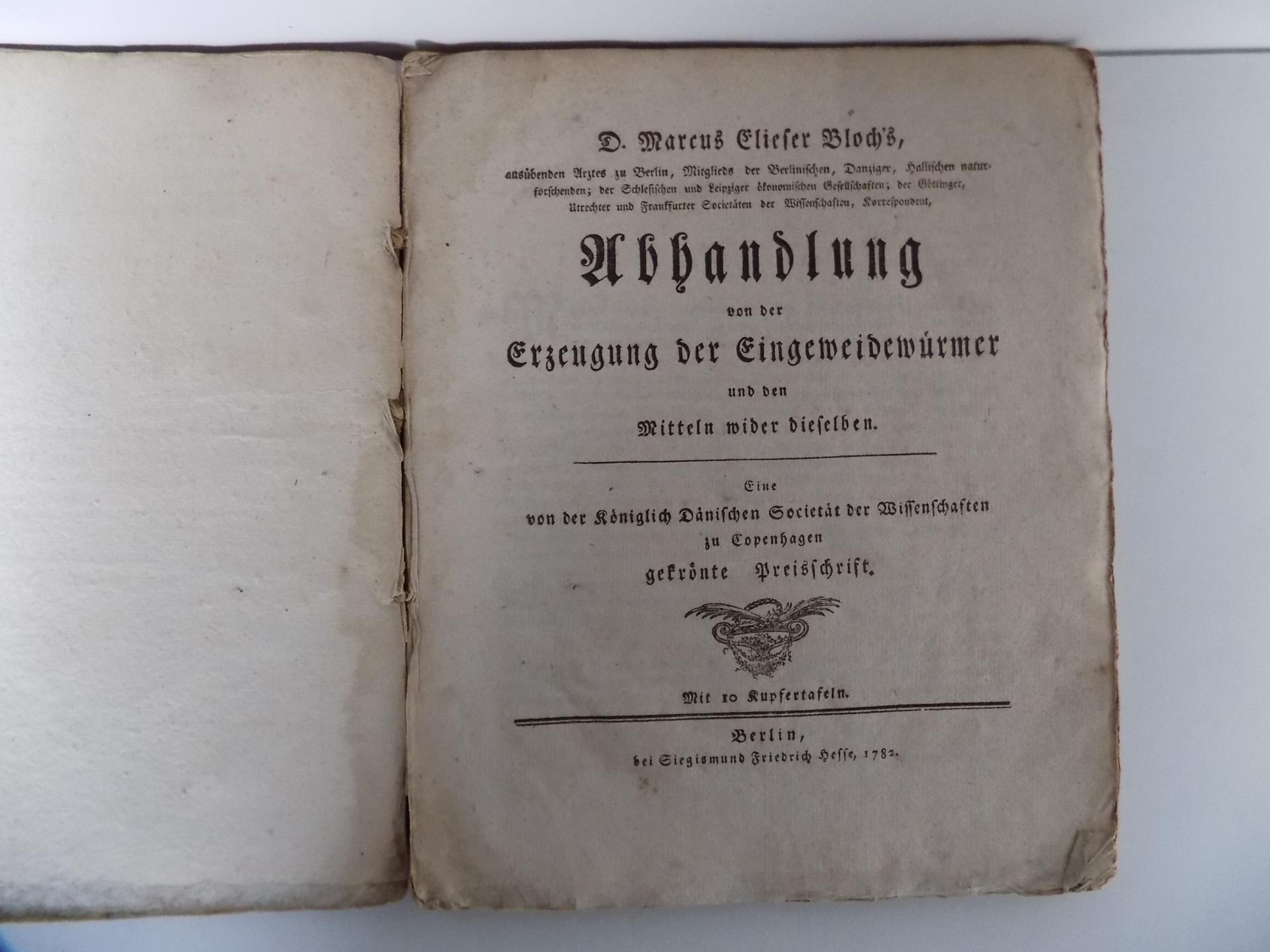 Abhandlung von der Erzeugung der Eingeweidewürmer und: Bloch, Marcus Elieser