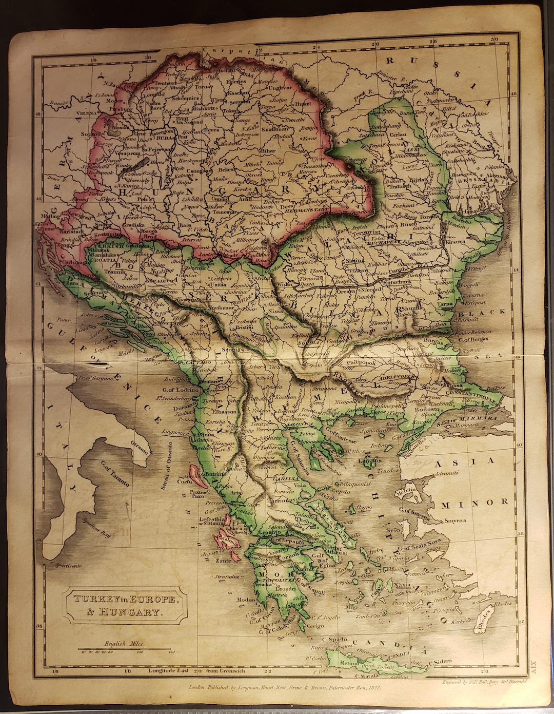 Image of: Original Map Turkey In Europe And Hungary By Hall Sidney 1822 Map Barry Cassidy Rare Books