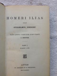 Homeri Ilias. Edidit Gujilielmus Dincorf. Editio Quinta Correctior Quam Curavit C.Hentze.: Dindorf,...