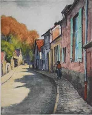 COLOUR PRINTED ETCHING OF A STREET SCENE: LE GARF [ie