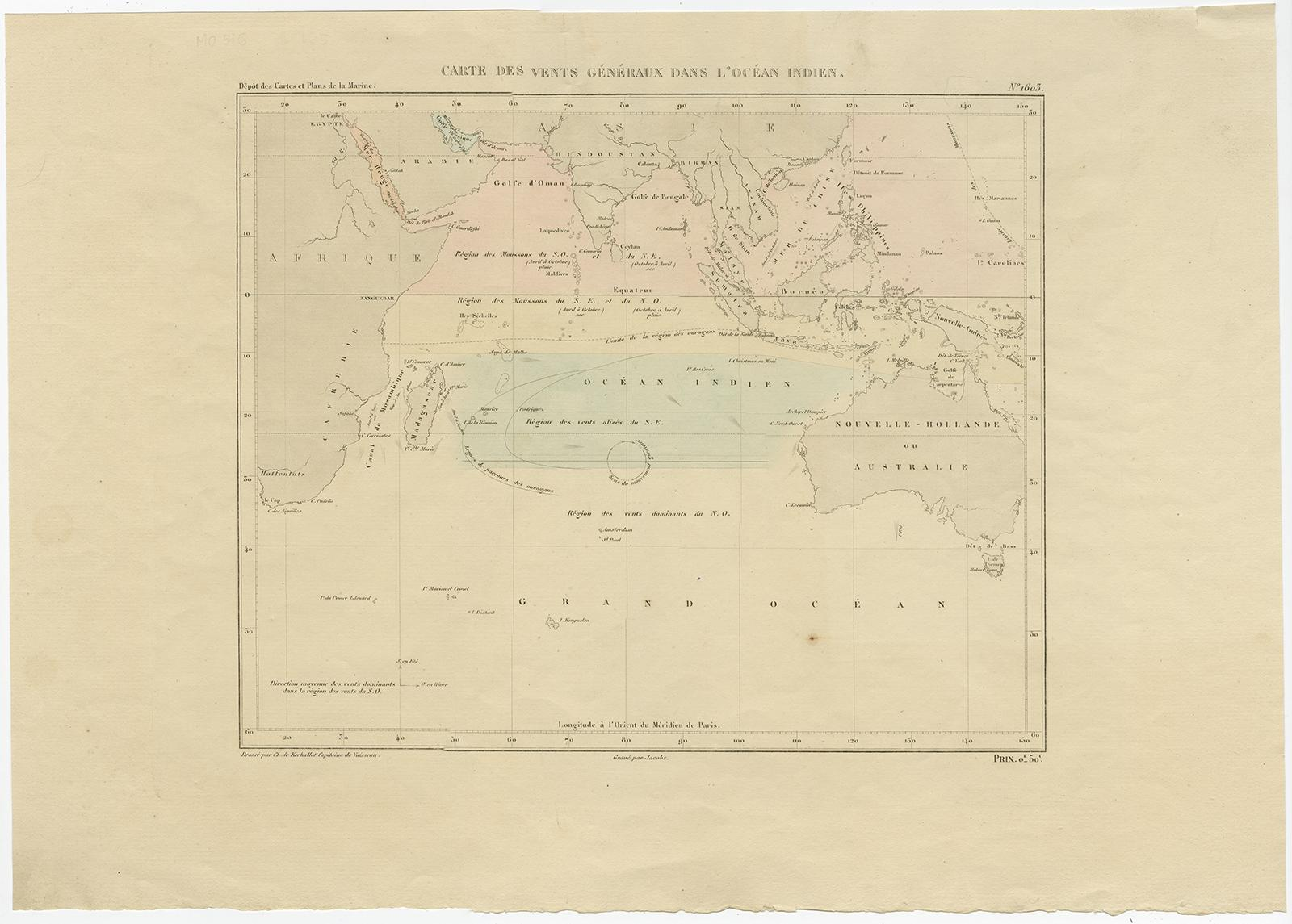 Carte Australie Cp.Antique Map Of The Indian Ocean C 1855