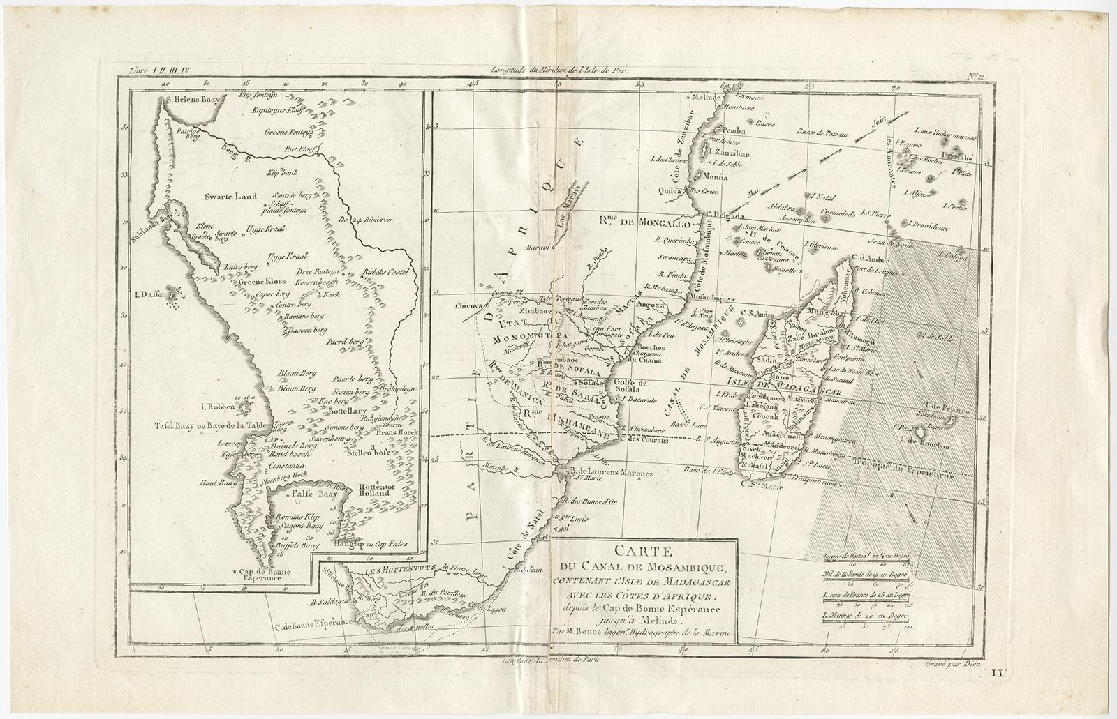 Antique Map of the Mozambique Channel by R. Bonne (1762) de R. Bonne on