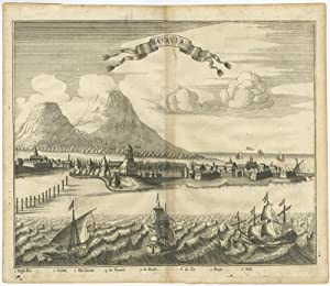 Antique Print with a view of Batavia from the Sea (c.1750)