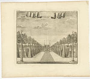 Antique Print of the garden of the governor-general (Adriaan Valkenier) by J.W. Heijdt (1739)