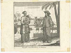 Antique Print of Topasses or Mardikers at Batavia (c.1760)