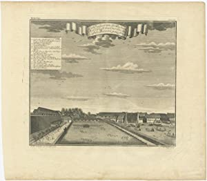 Antique Print with a View of the Parel Bastion (Batavia) by J.W. Heijdt (1738)