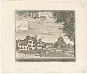 Antique Print of the Town Hall and new Ducth Church in Batavia by J.W. Heijdt (1738)