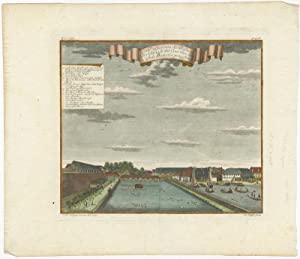 Antique Coloured Print with a View of the Parel Bastion (Batavia) by J.W. Heijdt (1738)