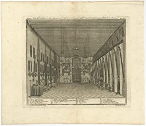 Antique Print of The Great Hall of the Castle of Batavia by J.W. Heijdt (1738)