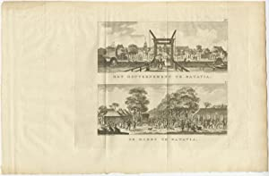 Antique Print with two Views of Batavia by M. de Sallieth (1779)