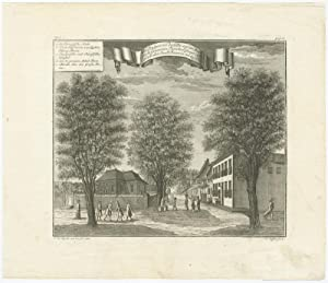Antique Print of a Canal in Batavia by J.W. Heijdt (1738)
