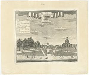 Antique Print with a view of the Batavia town hall by J.W. Heijdt (1738)