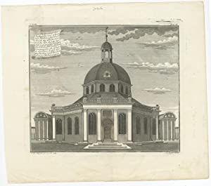 Antique Print of the New Dutch Church on Batavia by J.W. Heijdt (1738)