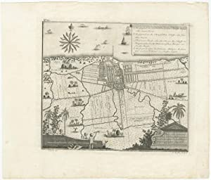 Antique Plan of Batavia by J.W. Heijdt (c.1740)