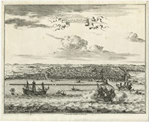 Antique Print of the City of Bantam (Indonesia) by P. van der Aa (c.1725)